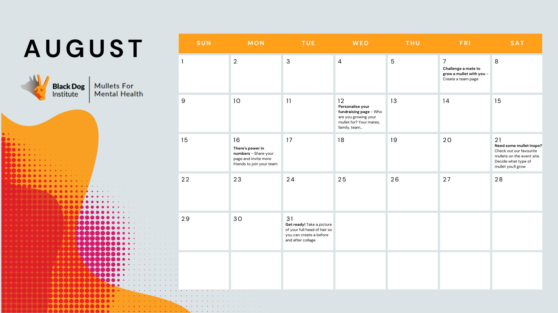 Mullets For Mental Health Calendar