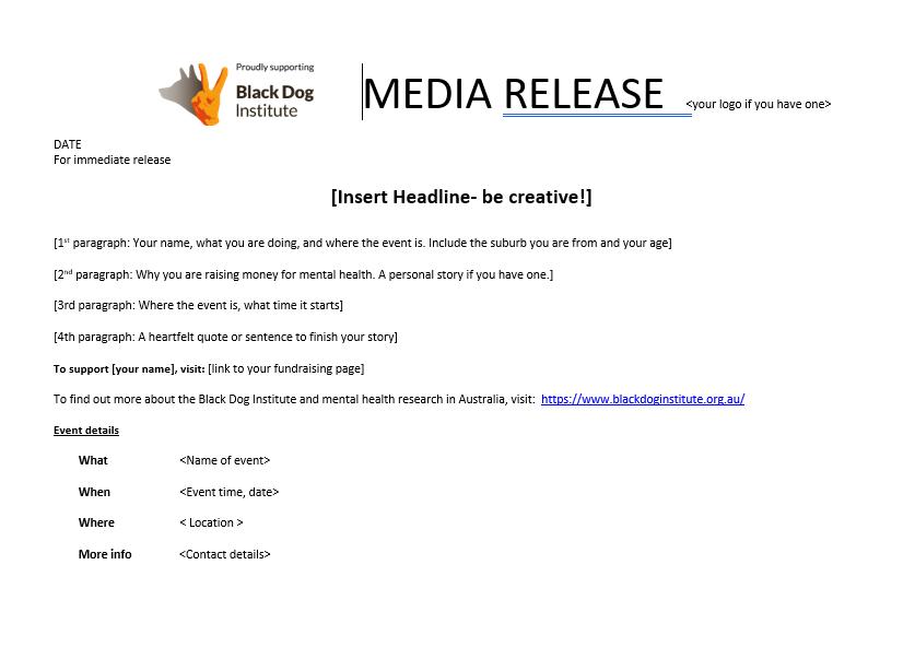 Media Release Template